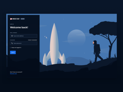 Rocket.Chat Cloud Login illustration blue significa ui astronaut space dark form login