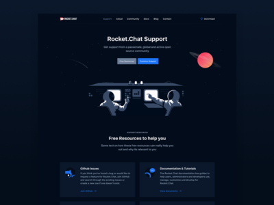 Rocket.Chat Support significa blue icon landing hero planet astronaut space dark