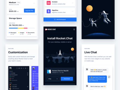 Rocket.Chat Mobile significa sidebar responsive chat interface ui dark grid download mobile