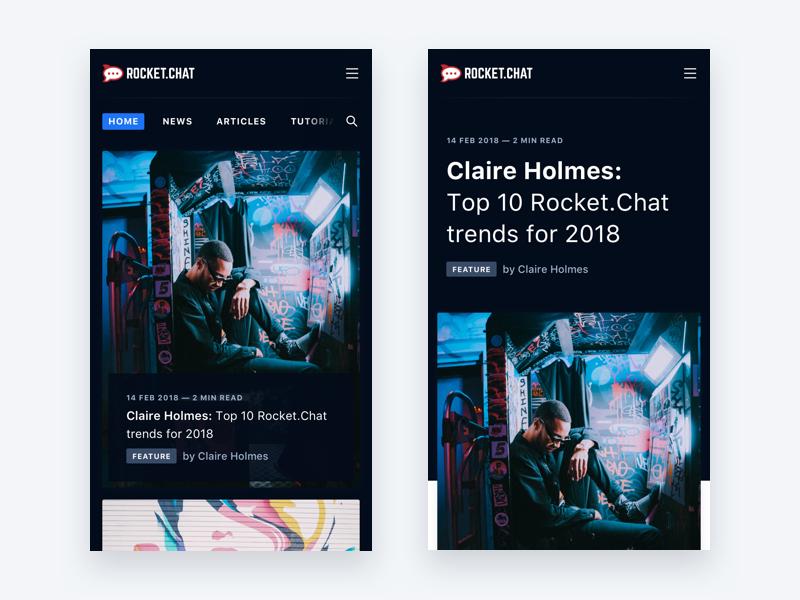 Rocket Chat Blog Mobile by pedro et   Dribbble   Dribbble