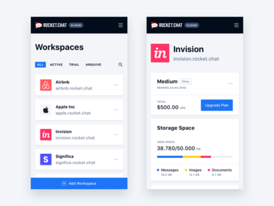 Rocket.Chat Workspaces Mobile analytics brand card ios significa interface light sf mobile