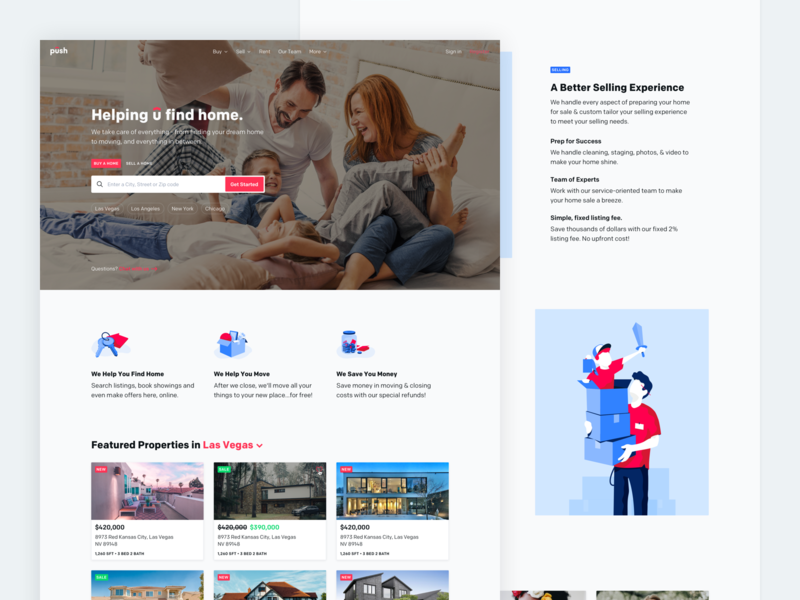 Push Real Estate -- Landing Page illustrations features hero blue red colfax house real estate significa landing page desktop