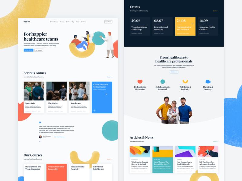 Nobox - For happier healthcare teams! about events blog cards webdesign interface tiempos website desktop shapes colors heatlh landing page
