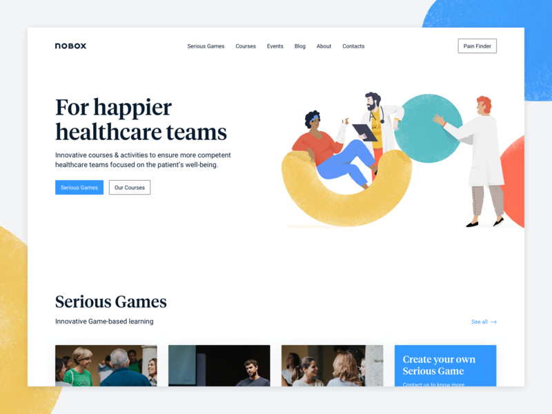 Nobox Website Hero texture flat clean interface webdesign blue doctor health card serif ui significa tiempos colors shapes illustration landing page website hero