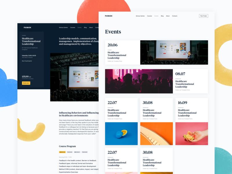 Nobox Events desktop website interface webdesign significa date event articles roboto tiempos shapes colors cards sidebar grid blog events