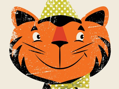 Festive Felid retro vector illustration whiskers polka dots bow party hat tiger