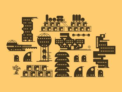 little city E illustration icons