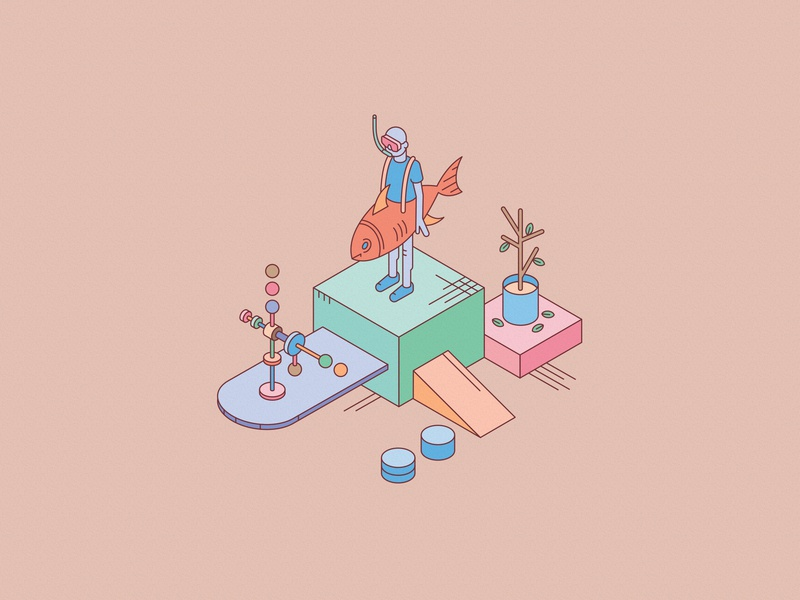 Display isometric vector illustration