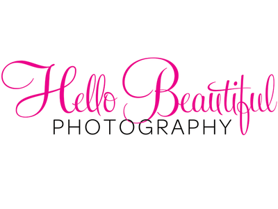 Hello Beautiful Logo pink feel script wedding photography logo