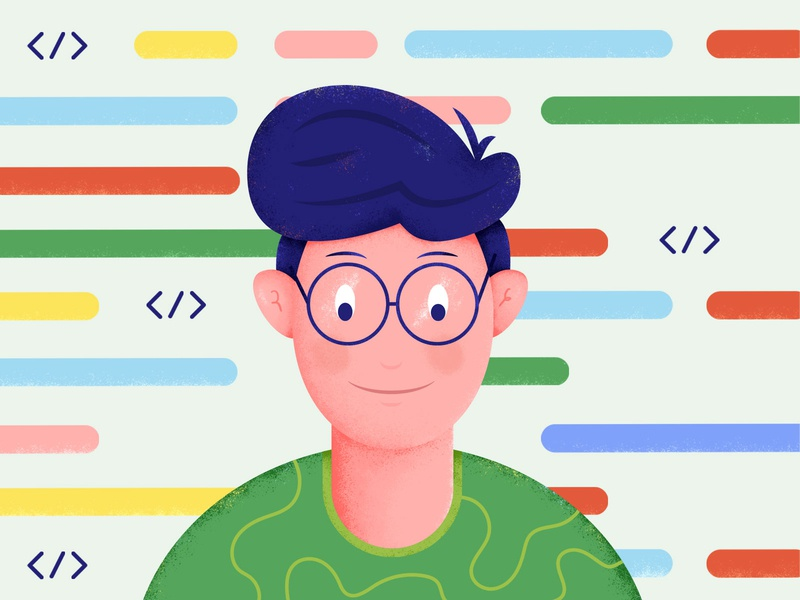 Coding on Fiverr grain vector flat technology glasses hair fiverr design fiverrgigs computer person texture color code programming coding illustration fiverr