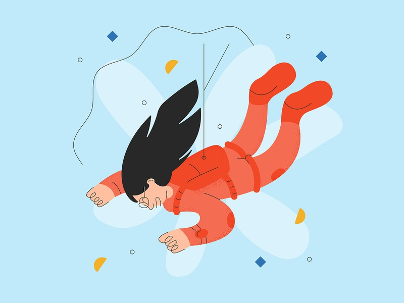 Risk Takers - Illustration design textured character design sky fast speed fun falling illustration design vector art vector color simple risk taker risk grain texture line character skydive