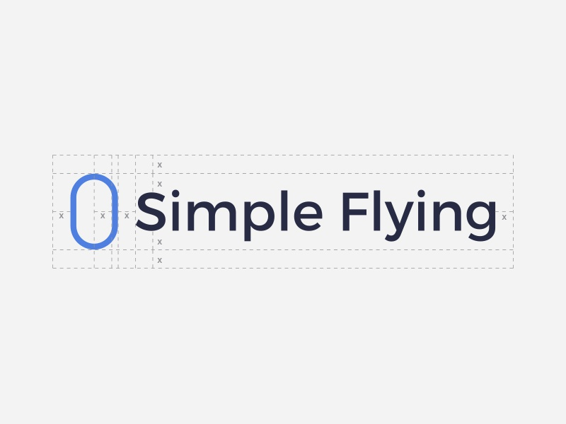 Simple Flying - Logo spacing aircraft planes aviation flying colour design identity branding brand spacing construction logo