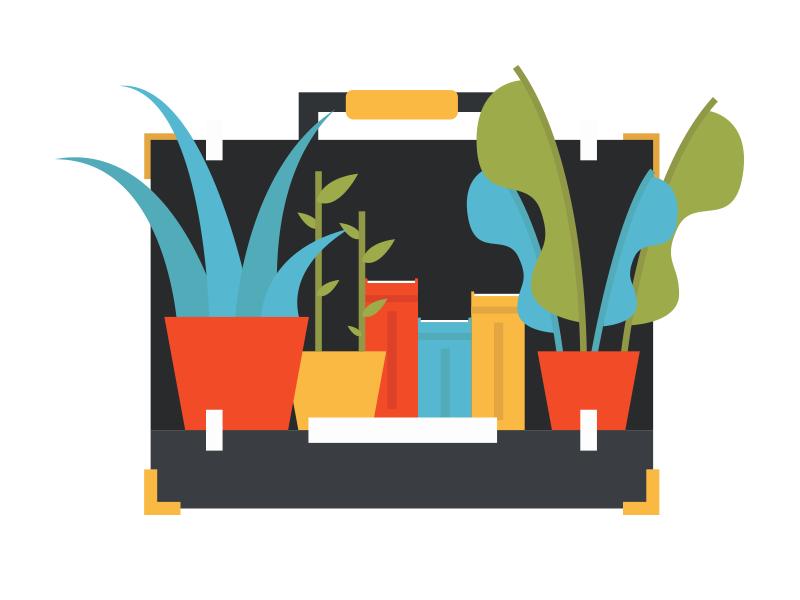 New Beginnings illustration digital blue red green foliage illustrator colour briefcase plants illustration
