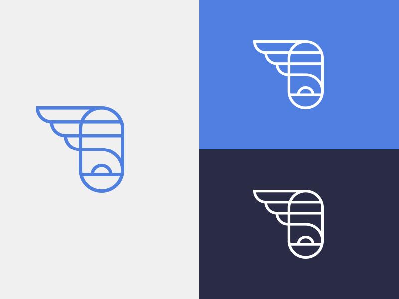 Simple Flying - Unused logo proposal stroke flat branding flight sunset window plane aviation flying identity design colour illustration blue