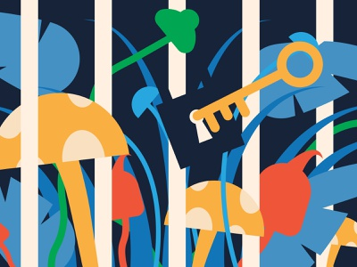 Locked Up - Illustration color colour mushrooms plants nature illustration editorial illustration