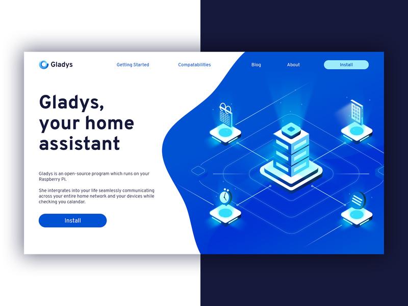 Gladys - Landing page geometric illustration web landing page design home automation ai artificial intelligence ux ui landing page ui landing page