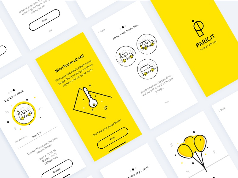 UI Design - Parking App ux design ui design onboarding onboarding ui illustration line clean yellow transport traffic los angeles parking ui  ux design