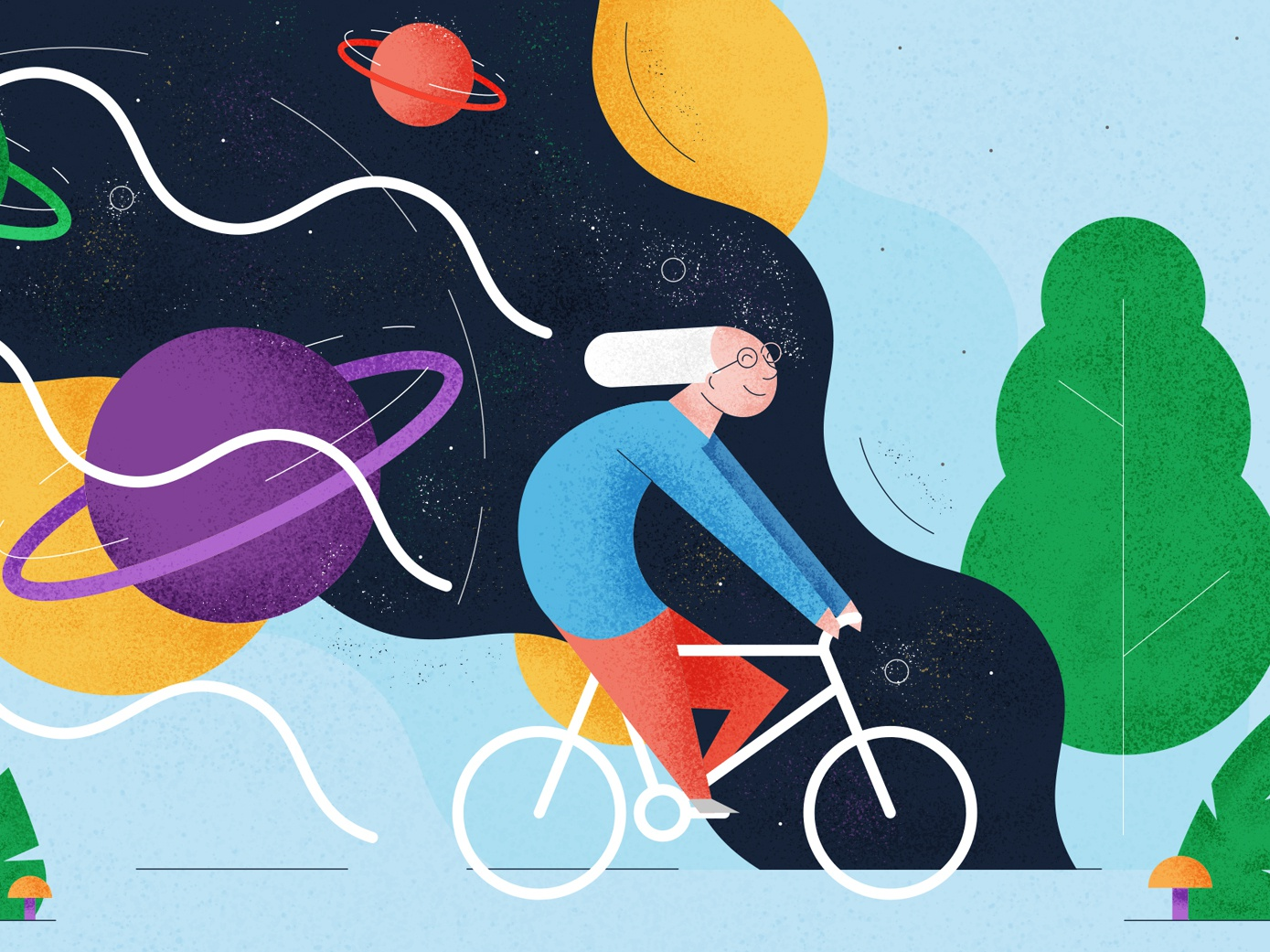Bicycle Day - Illustration vector illustration happy texture grain colours space cycling