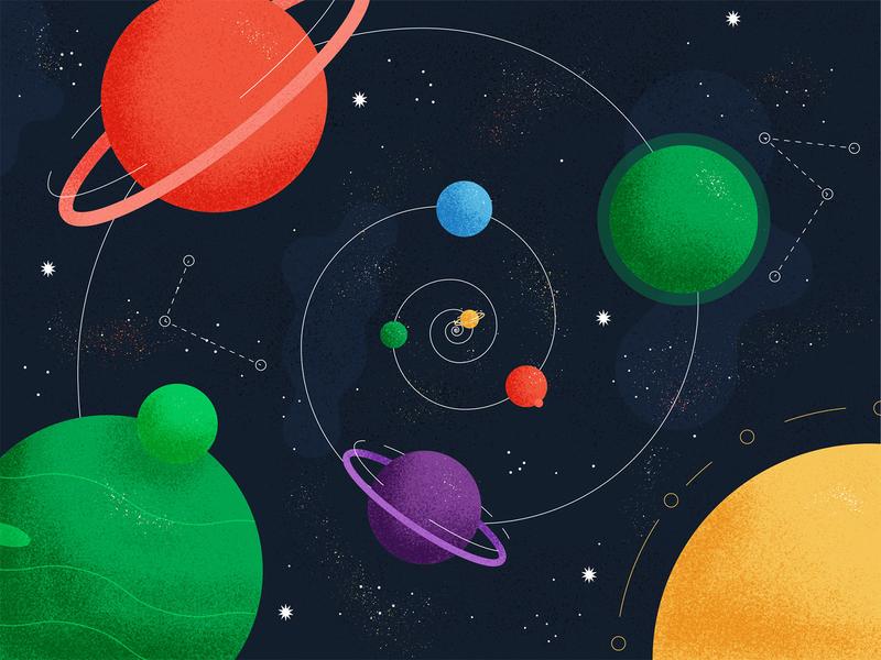 Cosmic Swirl - Illustration texture grain editorial illustration cosmic stars planet illustration space