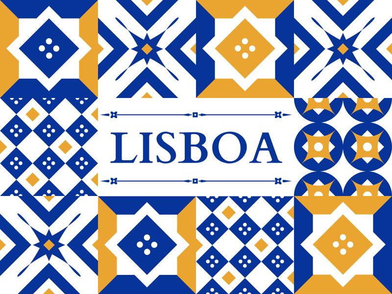 The Move to Lisbon - Illustration lisboa shapes pattern vector dribbble colour illustration gold blue ceramic travel portugal lisbon tiles