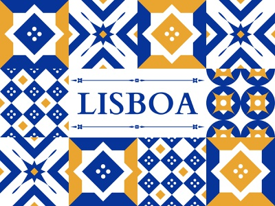 The Move to Lisbon - Illustration lisboa shapes pattern vector dribbble colour illustration gold blue ceramic travel portugal lisbon tiles