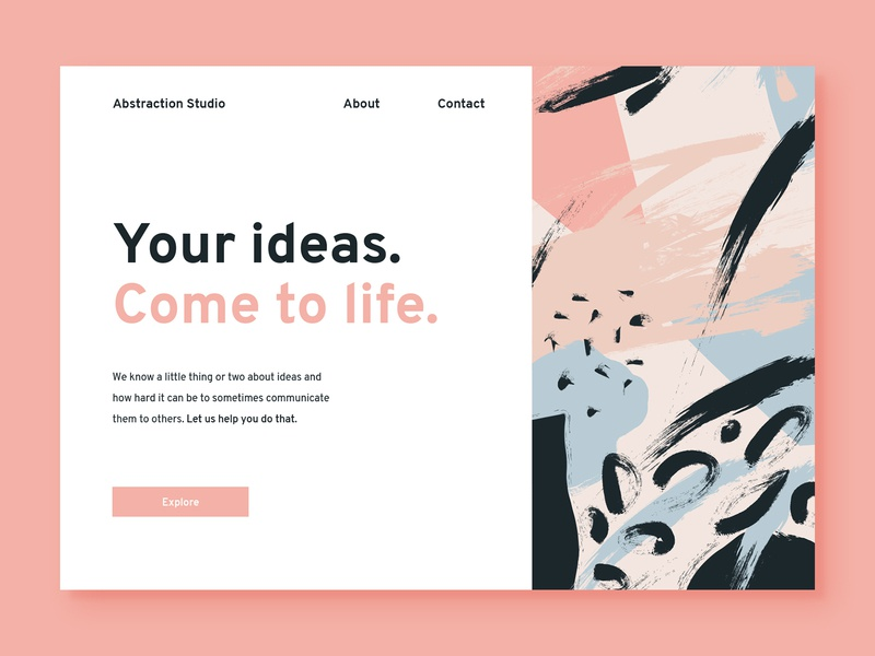 Copywriting Studio - Abstraction concept landing page typography design colour painting ideas explore web abstract clean ux ui copywriting studio