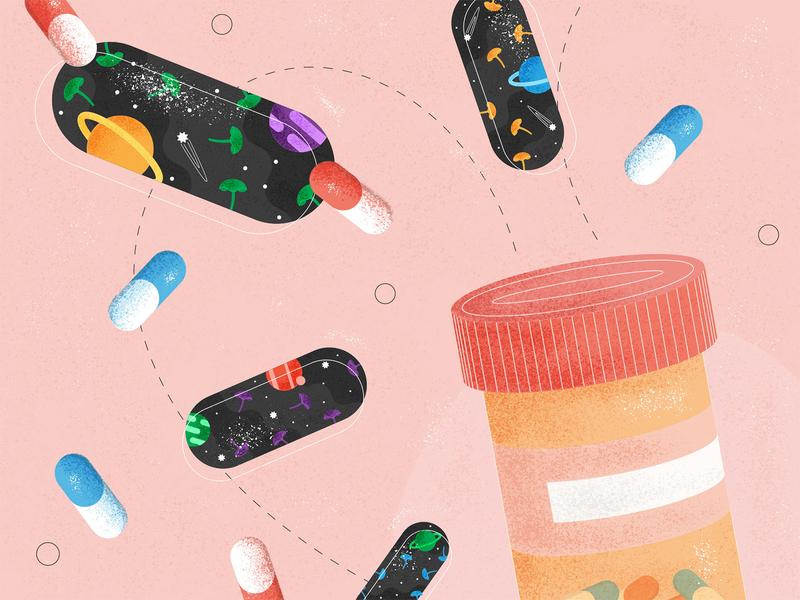 Medicinal Mushrooms - Illustration editorial illustration article texture grain space colour illustration