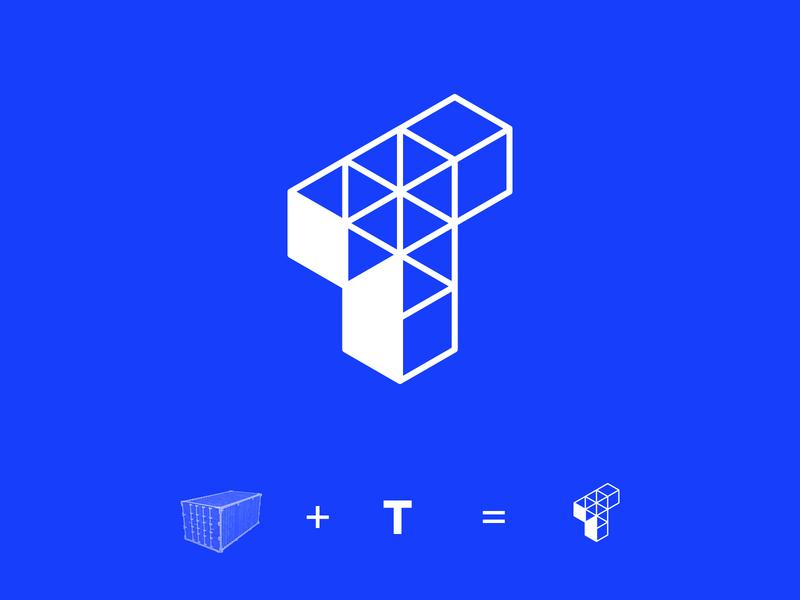 Trade Resource - Logo Concept concept logo clean white lines container trade shipping cargo branding blue identity design colour