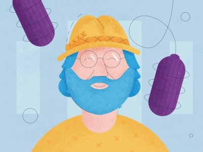 Illustration: Stamets with Joe Rogan joe rogan design vector colour style strokes lines sound microphone stamets hat texture yellow podcast illustration mushroom
