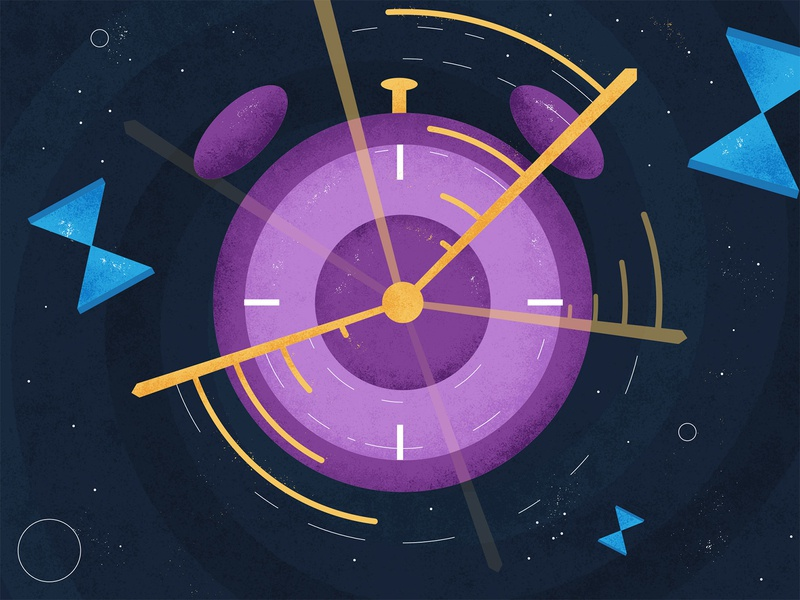 Health and Wellness - Timeline grain texture flat cosmic stars purple color stopwatch clock article space time illustration