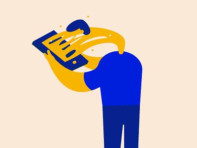 Phone Addiction - Illustration social phone color block flat  design shape roughen flat addiction character illustration