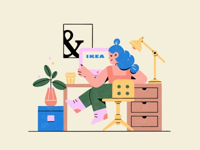 IKEA | Home office covid-19 quarantine work from home europe apartments flat design store furniture ikea office home decor interior work business girl flat texture character procreate illustration