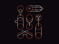 (in)visible template pattern home office work from home flat texture design table glasses things still life outline lines minimal procreate illustration