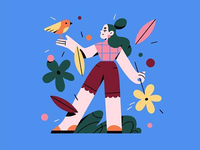Summertime 🌸 flower brush blue bird summer style girl flat texture character procreate illustration