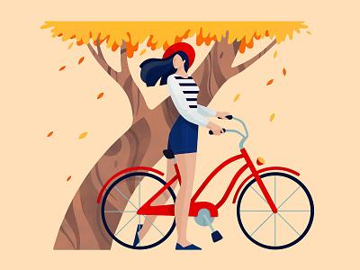 Hello Dribbble girl tree flat procreate bike nature autumn character illustration