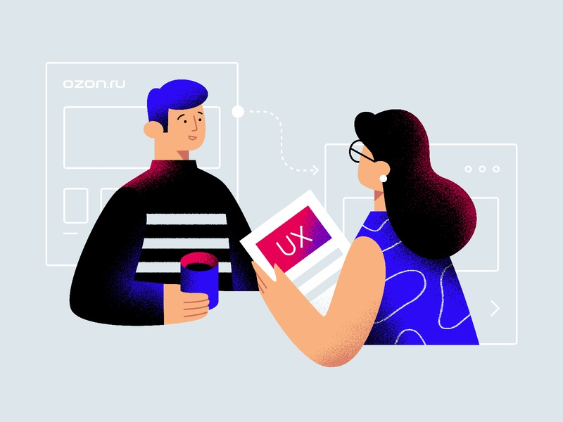 UX research interview customer ux e-commerce retail design vector texture character illustration