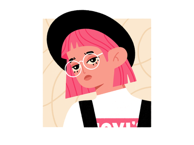 Pink pink hair fashion illustration fashion hat brand levis girl avatar character procreate illustration