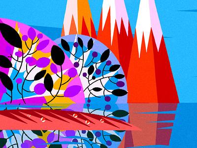 Shan Shui background design background art design editorial editorial illustration toronto limited color palette limited color jenn liv illustration