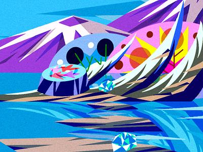 Rocks over water geometric illustration geometric art game design background art background design illustration