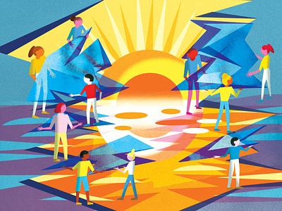 Collective Action for Social Justice social justice bright color combinations bright colors editorial illustration toronto illustrator editorial toronto jenn liv illustration
