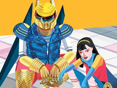 Asian Squatting jenn liv illustration heroine superhero android robot squatting asian