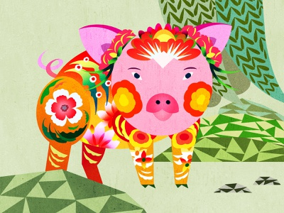 Year of the Pig toronto pig year of the pig chinese new year lunar new year illustration
