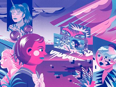 Dark Matter III Anthology Piece scifi design toronto samurai limited palette limited color palette limited color jenn liv risograph illustration