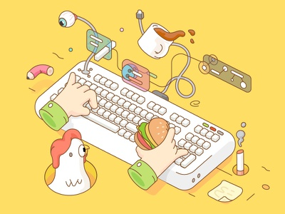 """Illustration for Onion Math """"Hack World"""" Event illustration poster icon colorful"""