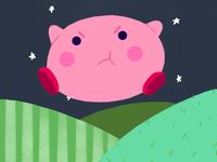 Kirby floating around