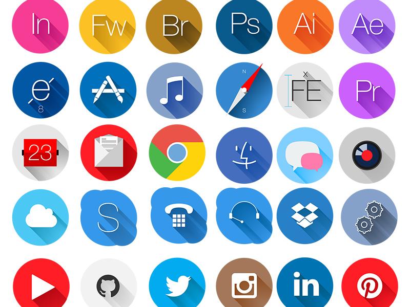 Circle Icons. Free. ui web bedismo flat icons freebie free
