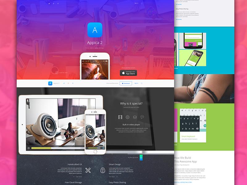 Appica 2. Wordpress theme material design logo site web app winner awwwards theme ios lollipop appica 2