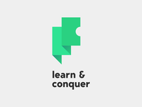 logotype: Learn & Conquer start up product saas learning logo