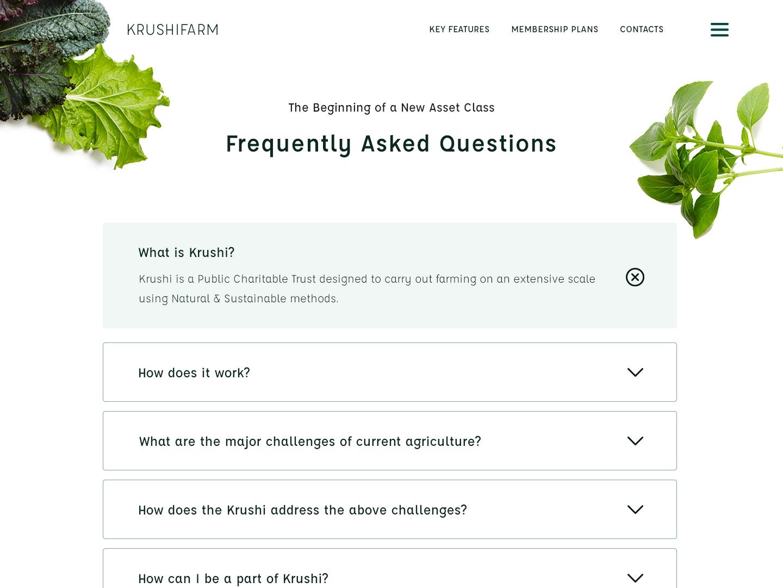 FAQ: Krushi Farm ui design ux  ui ux design green clean farm faq faqs