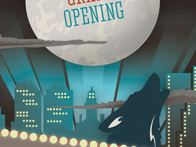 Grand Opening poster illustration typography